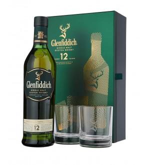 Віскі Glenfiddich 12 YO + 2 cклянки